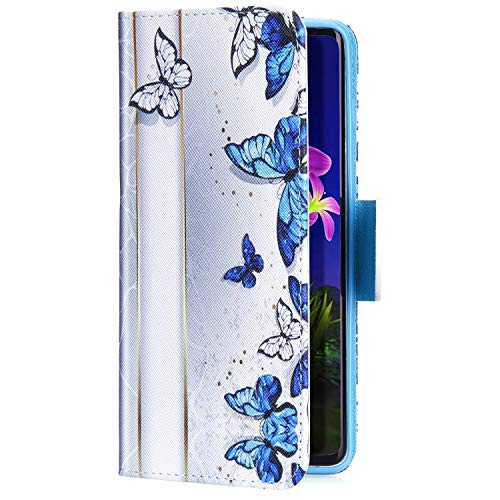 Uposao Kompatibel mit Xiaomi Mi 8 Handyhülle Handytasche Retro Bunt Muster Schutzhülle Flip Case Brieftasche Klapphülle Wallet Leder Hülle Cover Tasche Magnet,Blau Schmetterling