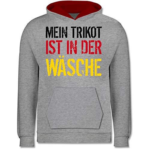 Shirtracer Fußball-Europameisterschaft 2021 Kinder - Mein Trikot ist in der Wäsche WM Deutschland - 140 (9/11 Jahre) - Grau meliert/Rot - wm Trikot 2020 - JH003K - Kinder Kontrast Hoodie