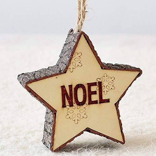 ZXXFR Ciondoli E Pendenti Natalizi,Noel Albero di Natale Decorazioni Decorazione Stella A Cinque Punte Natale Ciondolo Pendente in Legno Graziosi Home Decor di Piccole Dimensioni