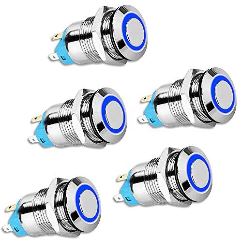Monland Interruptor BotóN de Enclavamiento de 5 Piezas de 12 Mm, Tapa Redonda Alta, BotóN de Interruptor de Metal Resistente Al Agua con Luz Azul de 12 V / 24 V