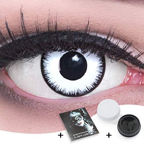 Weiße Crazy Zombie Fun Kontaktlinsen 1 Paar Farbige Weiße Lunatic Kontaktlinsen Mit Stärke -1,50 Dioptrien und Behälter. Perfekt zu Halloween, Karneval, Fasching oder Fasnacht