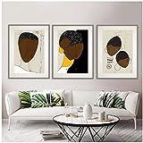 Mural Abstract Afro Ethno Family Set de 3 impresiones, Minimalista African Wall Art Print, Retrato afroamericano, Contemporarll Artoder -50X70Cmx3 Sin marco