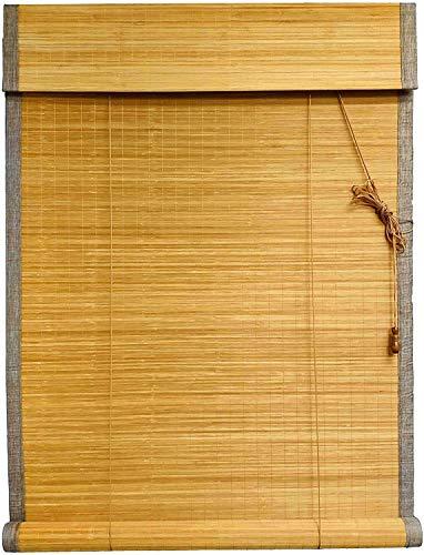 ybaymy Bambusrolllo, 180 x 90 cm Roll-up Bambus Blind, Bambus Jalousie, wasserdichte Retro Dekorative Bambus Shades Vorhänge mit Seitenzug für Innen und Außen - Hellbrauner