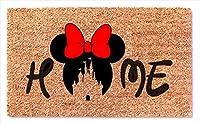 ミニーマウス 赤いリボン ウェルカムドアマット ホームデコ 面白いドアマット 結婚式 記念日 誕生日ギフト
