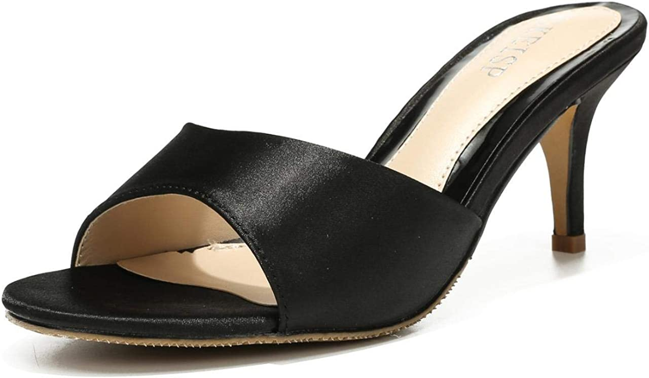 Women's Kitten Heel Mules Sandals Slip On Open Peep Toe Slippers Sexy Dress Backless Low Heeled Slides