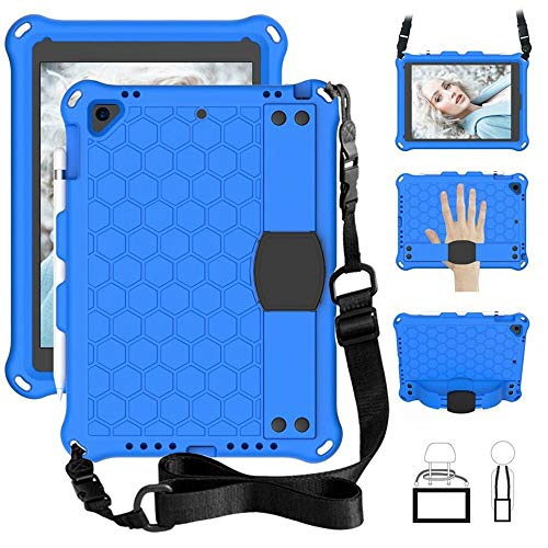 RZL PAD & TAB cases For Ipad Pro 11, Kids Case With Stand Function And Strap Tablets Cover For Ipad 7th Generation Ipad Air 2 3 Ipad MINI 12345 (Color : Blue, Size : Ipad 10.2 2019 2020)