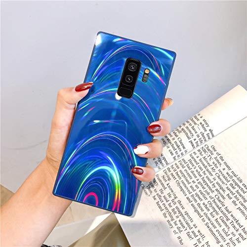 Herbests Kompatibel mit Samsung Galaxy S9 Plus Hülle Glitzer Glänzend Kristall Aurora Bunte Weich Silikon Handyhülle Ultra dünn Schutzhülle TPU Bumper Handytasche Crystal Case Cover,Blau