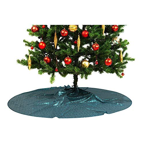 PartyDelight Sequin Christmas Tree Skirt 50' Teal