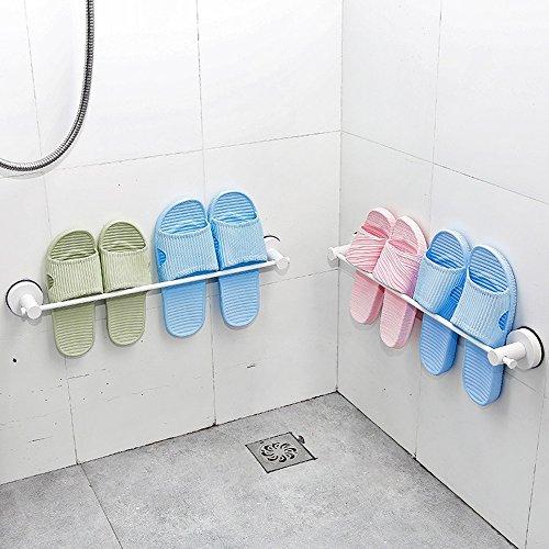 LJHA Étagère à chaussures en acier inoxydable mural pas besoin de perforer les ménages derrière la porte Pantoufles de salle de bains Rack Meubles à chaussures (Couleur : Blanc)
