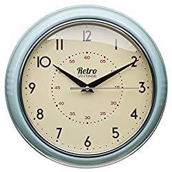 Retro Clock. Retro style clock with coloured outer edge. They are made from a metal material on the outer . Clock Face Diameter 19cm Depth 6.5cm Colour: Duck Egg