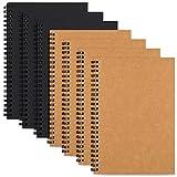 Cuaderno de espiral, cuaderno de bocetos en blanco, cuaderno sin forro, 8.1 x 5.5 pulgadas, cubierta de papel kraft (4 marrón y 3 negros), 100 g/m², papel interior blanco crema