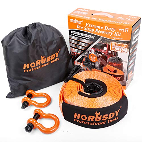 """HORUSDY Nylon Heavy Duty Tow Strap Recovery Strap with Hooks 3"""" x 30Ft - 32,000 LBS Break Strength, 3/4 D Ring Shackles (2pcs), Recover Your Vehicle Stuck in Mud/Snow."""