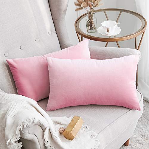 MIULEE Terciopelo Funda de Cojine Funda de Almohada del Sofá Throw Cojín Decoración Almohada Caso de la Cubierta Decorativo para Sala de Estar 30x 50cm 12 x 20 Pulgadas 2 Pieza Sakura Rosa