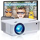 """Video Projector 5500Lux HD, Wevivi Mini Projector for Outdoor Movies with 100""""Projector Screen and Storage Bag, Full HD 1080P Supported, Compatible with Fire Stick, HDMI, VGA, USB, TF, AV"""