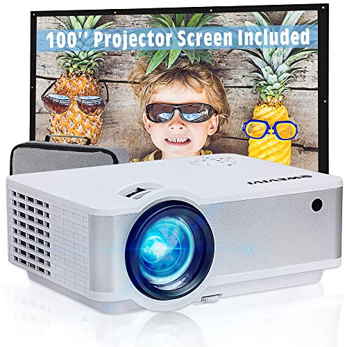 "Video Projector 5500Lux HD, Wevivi Mini Projector for Outdoor Movies with 100""Projector Screen and Storage Bag, Full HD 1080P Supported, Compatible with Fire Stick, HDMI, VGA, USB, TF, AV"