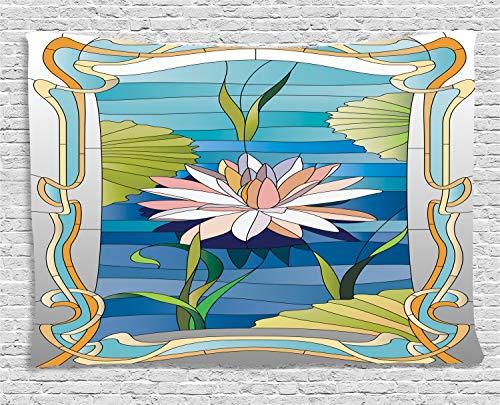 ABAKUHAUS Art Nouveau Tapiz de Pared, Vidrieras De Loto, para el Dormitorio Apto Lavadora y Secadora Estampado Digital, 200 x 150 cm, Multicolor