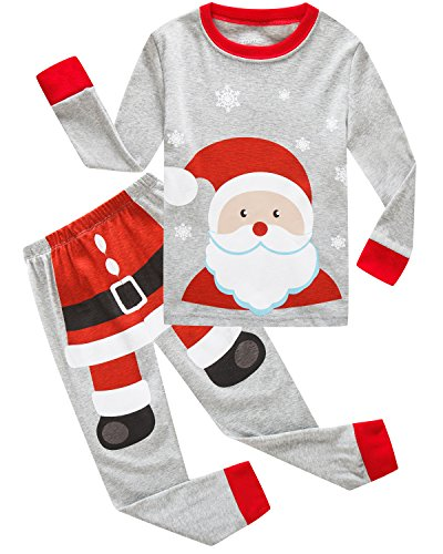 Dolphin&Fish Boys Christmas Pajamas Kids Pjs Sets Cotton Toddler Clothes Children Sleepwear,Santa, Size 8