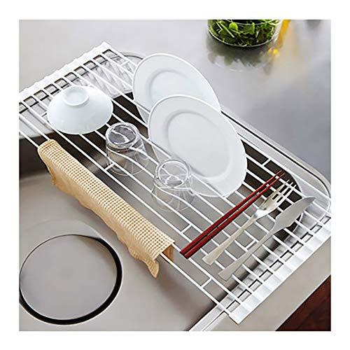 escurreplatos sobre Fregadero, Ahorra Espacio, La Rejilla De Metal para Platos sobre El Fregadero La Rejilla para Platos Se Enrolla(Size:42×26×0.8cm)