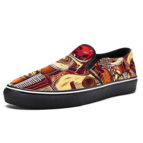 TIZORAX Gitarren-Akkordeon-Schlupfschuhe für Damen und Mädchen, modisch, Segeltuch, flacher Bootsschuh, Mehrfarbig - mehrfarbig - Größe: 39.5 EU