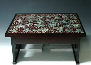 Mother of Pearl Inlay Art Lacquer Finish Grape Vine Design Luxury Handmade Solid Thick Wood Square Sofa Coffee Asian Furniture Home Decor Table Tea Tray