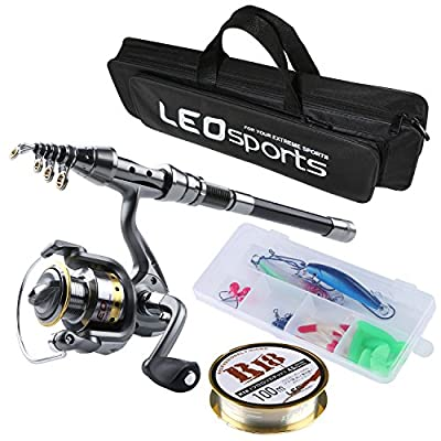Fishing Rod and Reel Combos FULL Kit, Travel Spinning Telescopic Fishing Rod Reel Set with Fishing Line Lures Hooks and Fishing Bag Carrier Case Accessories