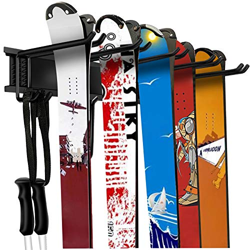 WALMANN Garage Storage Organization System Ski Wall Rack 10 Pairs of Skis Mount Hanger Home Shed and Garage Snowboard Wall Rack System Holds Up to 300lbs