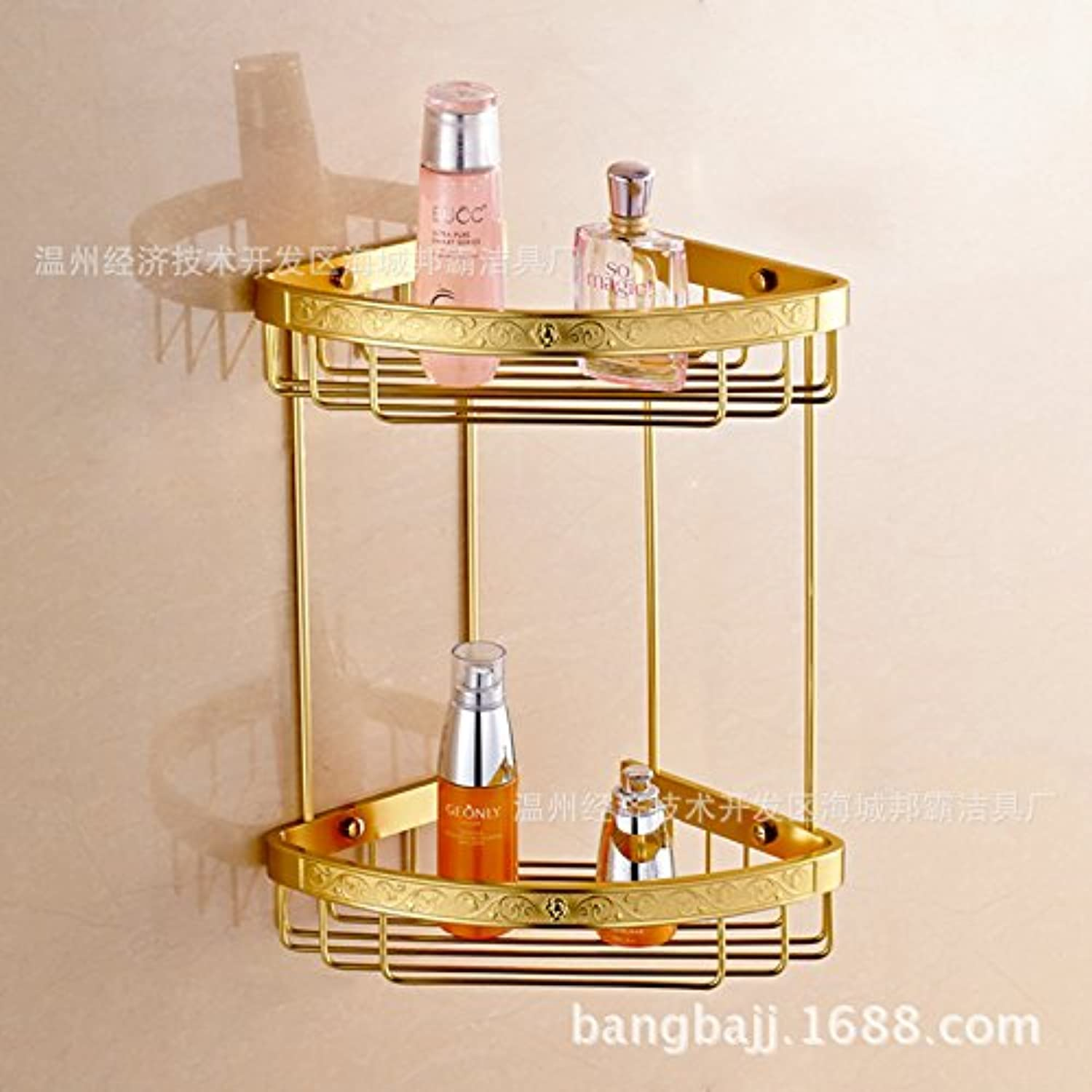 Bathroom Bathroom Shelf corner shelf Wall shelves space aluminium pendant carved double gold