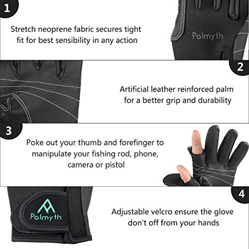 Palmyth Neoprene Fishing Gloves for Men and Women