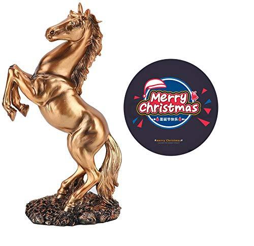 Diyeeni Figur Pferd, Harz Statue geflochtenes Pferd mit Bedeutung des Erfolgs, Moderne Skulptur für Schreibtisch Dekor, geeignet für Privatpersonen Gästezimmer Restaurant(Bronze)
