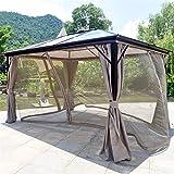 WSN Gazebo de Techo rígido de 3x4m, Pared Lateral del Panel de la Cortina de la privacidad del Refugio del Sol al Aire Libre de 4 Estaciones para el jardín