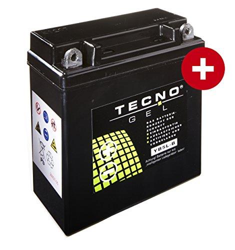 TECNO-GEL Motorrad-Batterie YB5L-B, 12V Gel-Batterie 5 Ah, 120x60x128 mm inkl. Pfand