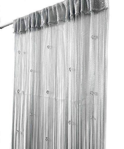 Eve Split Decorative Door String Curtain Wall Panel Fringe Window Room Divider Blind for Wedding Coffee House Restaurant Parts Crystal Tassel Screen Home Decoration (silver002)