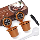 Letilio Pack of 2 Refillable Reusable Coffee Capsule for Nespresso with 2pcs Plastic Spoons and Cleaning Brushes