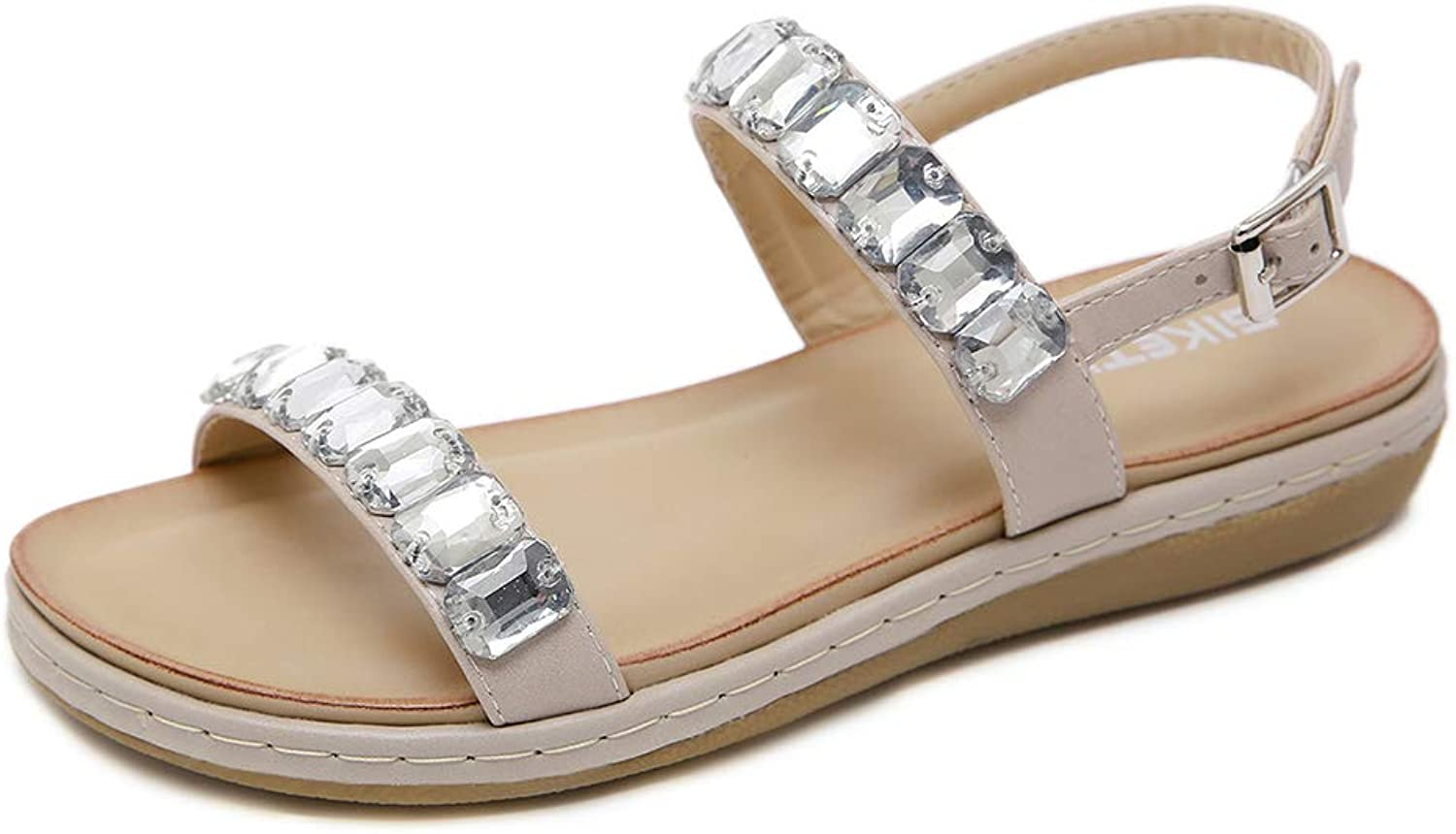 Tuoup Womens Leather Ankle Strap Outdoor Jeweled Fashion Sandals
