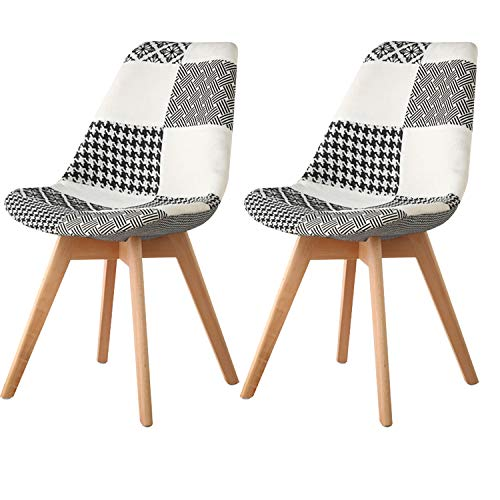 MIFI Patchwork Stoff Stühle Retro Esszimmerstuhl Stoff Esszimmer Lounge Stühle Küchentisch und Stühle Set 2 mit Rückenlehne Sofakissen Massivholz Beine (Schwarz-Weiß-Gitter)