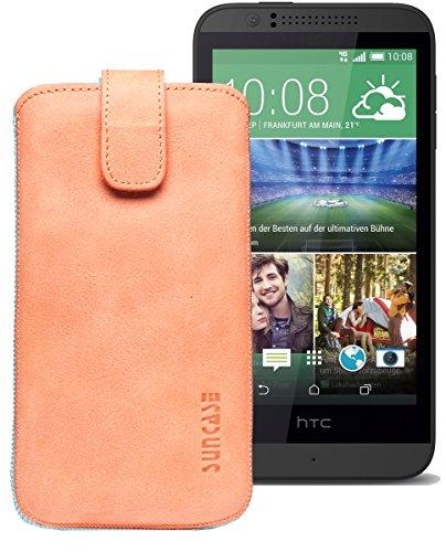 Original Suncase® Etui Tasche für HTC Desire 510 | HTC Desire 526G Dual SIM | ZTE Blade V6 Leder Etui Handytasche Ledertasche Schutzhülle Hülle Hülle *Lasche mit Rückzugfunktion* antik-lachsrosa