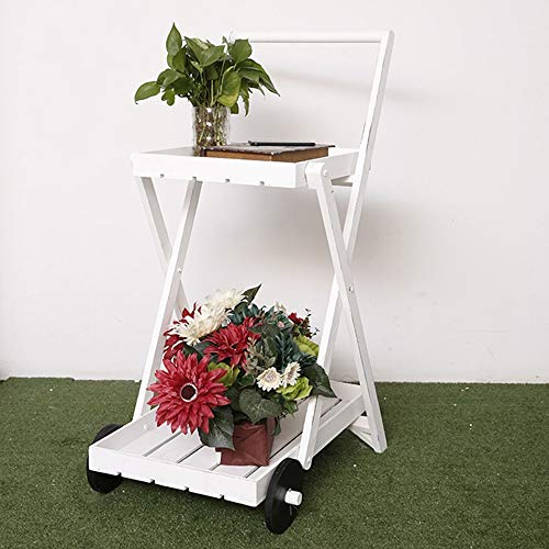 hpll Flower Stand, Wooden Art Vintage Multi-Strato Balcon à l'ouvert séjour avec Stand à Fleur Roues Pied de Fleur Blanc