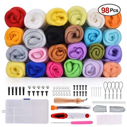 BASEIN Filzwolle Märchenwolle, 98 Stück Nadelfilz Wolle Set, 24 Farben 5g/Farben Filzwolle mit Werkzeug Set für Nassfilzen und Trockenfilzen DIY Handwerk