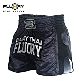 FLUORY Muay Thai, pantaloncini da boxe resistenti agli strappi MMA Fight Kick Abbigliamento per uomini donne e bambini arti marziali allenamento grappling.
