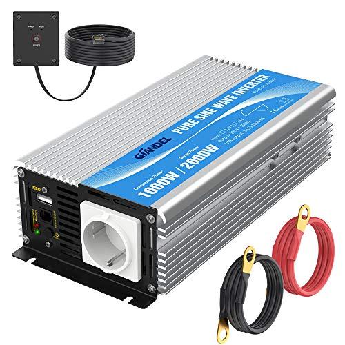 Convertisseur 12V 220V Pur Sinus 1000W Onduleur 230V 240V Transformateur Onde Sinusoïdale Pure avec Télécommande avec AC Prises de Courant & 2.4A Port USB pour RV Voiture de Camion GIANDEL