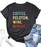 Coffee Peloton Wine Repeat T Shirt Women Letter Print Tee Shirt Drinking Alcohol Shirt Wine Lovers Shirt Tops (Grey, Medium)