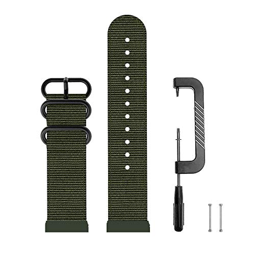 DuiGong Compatible for Garmin Forerunner 920XT Band Replacement Canvas Strap (Army Green)