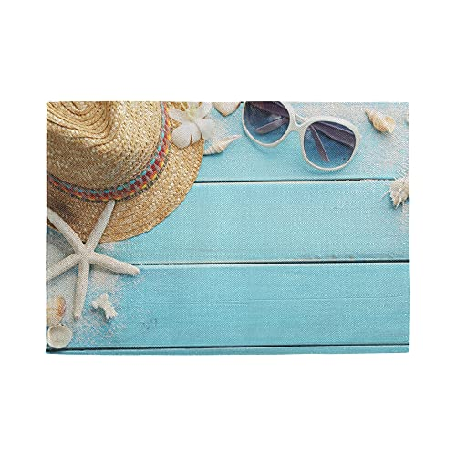 Placemats Set of 4, Beach Wooden Board Washable Heat Resistant Place Mats for Kitchen Dining Decorations, Non-Slip Easy Clean 12 X 18 Inch