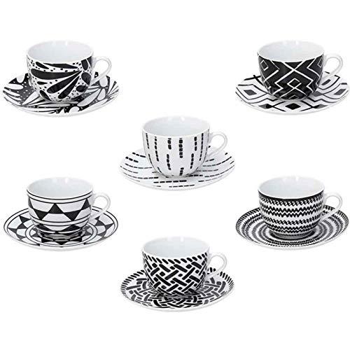 Tognana ME085015582 Juego de 6 tazas de café con plato cc110 Mandala Black, Porcelana