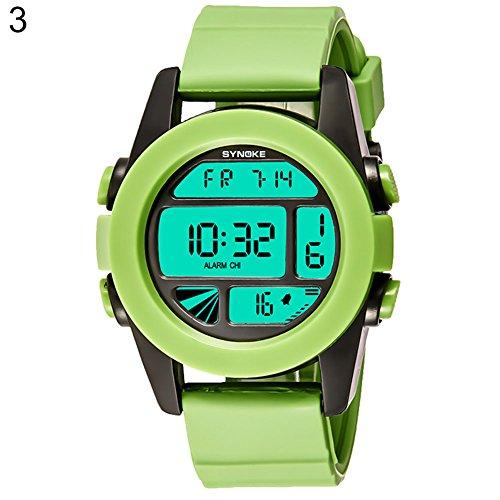 Livecity® Wasserdichte Sport Armbanduhr, Unisex Fresh Farbe Digital Display Analog Quarz Hintergrundbeleuchtung Paar Armbanduhr, grün, Large