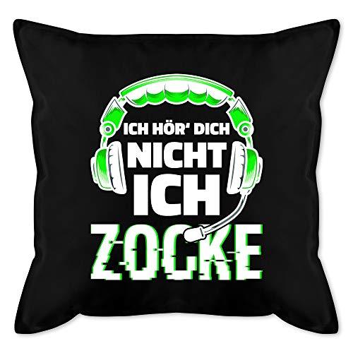 Deko Kissen Hobby - Ich hör dich nicht ich zocke Headset Glitch Weiß Grün - Unisize - Schwarz - grün schwarz kissen junge - GURLI Kissen mit Füllung - Kissen 50x50 cm und Dekokissen mit Füllung