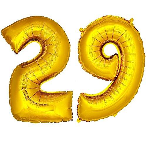 DekoRex® 29 Globo en Oro 120cm de Alto decoración cumpleaños para Aire y Helio número
