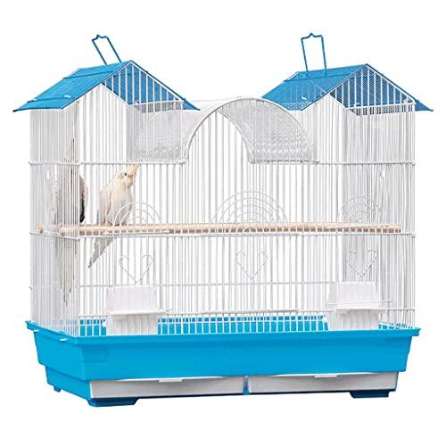Gabbie per uccelli decorative Gabbia di volo da 24 pollici in ferro battuto grande gabbia con supporto e giocattoli di rotolamento, gabbia per uccelli portatili per viaggi o uso domestico-bianco