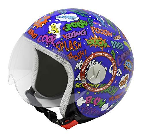 Rodeo Drive RD109G casco scooter blu bambino grafica pop art, grafica splash, S