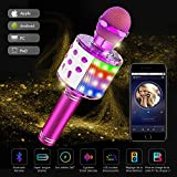 Teaisiy Microphone Karaoke sans Fil, Bluetooth Karaoké Microphone 4-en-1 Portable Poche Double Haut-Parleur Micro Machine pour KTV Karaoké Enfants Adulte pour Chanter Fête Enregistrement (Violet)